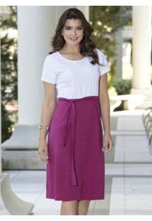 Vestido Branco E Púrpura Moda Evangélica