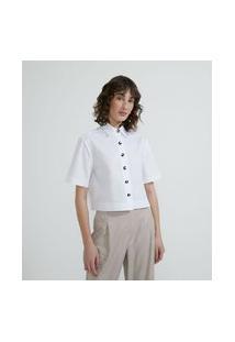 Camisa Manga Curta Em Tricoline Com Botões Diferenciados | Cortelle | Branco | M