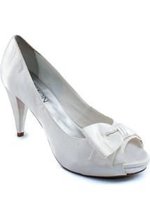 cb0ff2ce3e Peep Toe Com Laço Belmon - M05 - Feminino-Branco