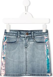Dkny Kids Saia Jeans Com Detalhe De Listras - Azul
