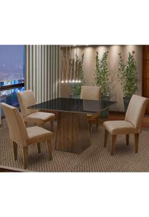 Conjunto De Mesa Com 4 Cadeiras Florença – Dobue. - Castanho / Preto / Mascavo