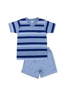 Pijama Infantil Ano Zero Menino Malha Mescla Listrada Silk Az - Marinho