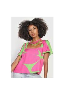 Camiseta Forum Abstrata Verde/Rosa