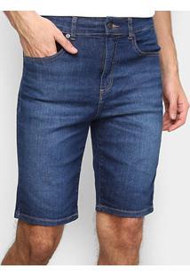 Bermuda Jeans Lacoste Relax Fit Reta Masculina - Masculino-Azul