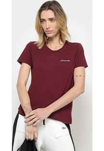Camiseta Calvin Klein Mc Logo Feminina - Feminino-Bordô
