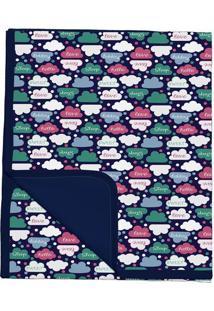 Manta Dupla Face Nuvens - Verde Branca- 3X30X24Cm Batistela