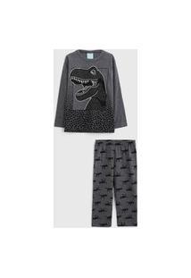 Pijama Kyly Longo Infantil Dinossauro Cinza