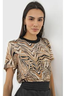 Camiseta Colcci Animal Print Bege