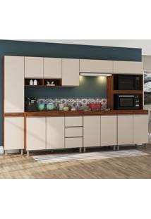 Cozinha Completa 13 Portas 3 Gavetas Triade Seda/Off White - Viero Móveis