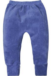 Calça De Bebê Básico Azul Escuro Plush Pé Reversível Azul Escuro