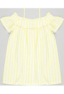 Vestido Infantil Open Shoulder Listrado Manga Curta Off White