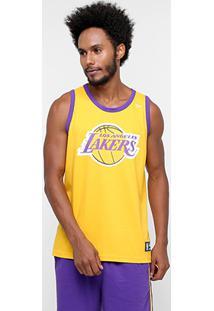 b3f823c6a Camiseta Regata New Era Nba Basic Logo Los Angeles Lakers -  Masculino-Amarelo