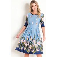 91b748392 Posthaus. Vestido Evasê Moda Evangélica Floral Barrado