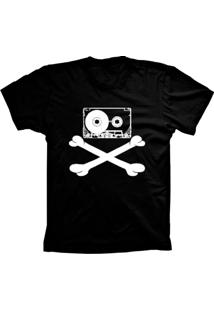 Camiseta Baby Look Lu Geek Fita Caveira Preto