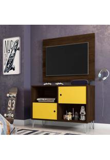 Rack Com Painel Para Tv Até 42 Polegadas Qatar Cedro E Amarelo 82 Cm