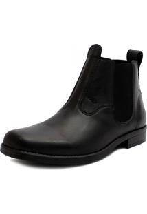 Botina Bota Bico Quadrado Em Couro Cla Cle Ec Shoes Preto