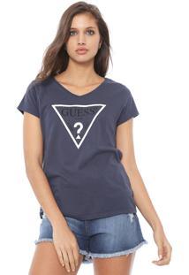 Camiseta Guess Logo Azul-Marinho - Kanui
