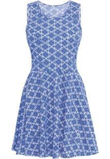 Vestido Godê Com Recortes Estampado Azul