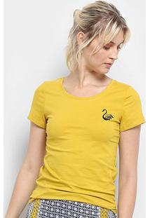 Camiseta Top Moda Bordada Feminina - Feminino-Amarelo