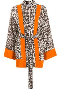 P.A.R.O.S.H. Kimono De Seda Com Estampa De Leopardo - Neutro