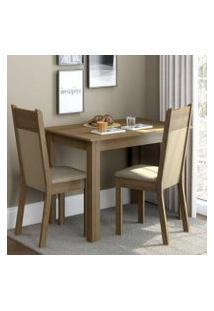 Conjunto Sala De Jantar Madesa Lola Mesa Tampo De Madeira Com 2 Cadeiras Rustic/Crema/Pérola