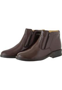 Bota Pessoni Boots & Shoes Social Em Couro Ziper Lateral Marrom - Kanui