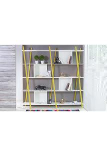 Estante Branca Grande Para Sala Design 5 Prateleiras E Nichos Moderna Mdf E Madeira Cor Amarela Sue Woodinn 180X38X180 Cm