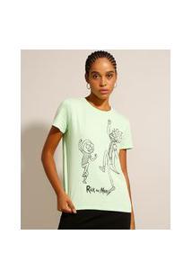 Camiseta De Algodão Rick And Morty Manga Curta Decote Redondo Verde Claro