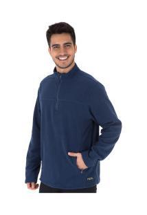 Blusa De Frio Fleece Nord Outdoor Basic - Masculina - Azul Esc/Verde Cla