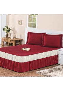Colcha / Cobre Leito Agatha Com 2 Porta Travesseiros Casal Casa Dona Vermelha