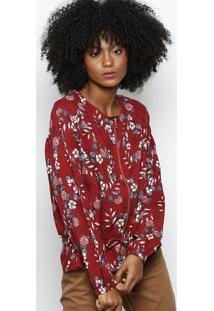 Jaqueta Floral Com ZãPer- Vermelha & Verdehering