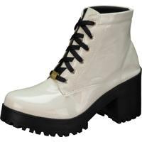 a082fe9ad Bota Coturno Lu Fashion Tratorado Branco Verniz