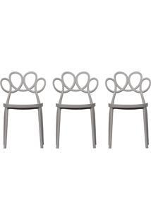Kit 03 Cadeiras Decorativas Para Cozinha Laço Nude - Gran Belo