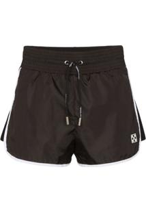 Off-White Short Cintura Alta - Preto