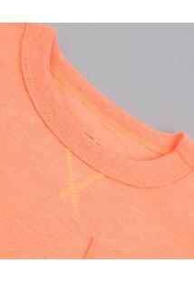 Camiseta Infantil Com Bolso E Bordado Manga Curta Laranja Neon