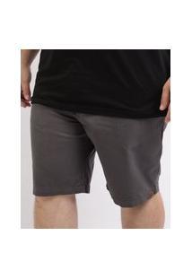 Bermuda De Sarja Masculina Plus Size Reta Chino Chumbo