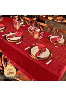 Toalha De Mesa Rendada Estampada Natal- Vermelha & Amarelepper