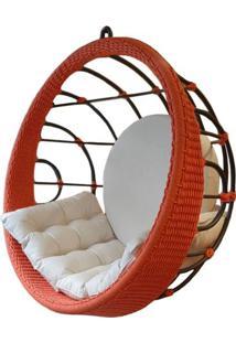 Poltrona De Balanco Bowl Em Aluminio Revestido Em Corda Cor Coral - 53803 - Sun House