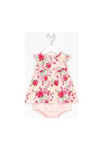 Vestido Infantil Floral Com Calcinha - Tam 0 A 18 Meses   Teddy Boom (0 A 18 Meses)   Rosa   9-12M