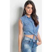Camisa Jeans Sawary Cropped Sem Mangas Azul c14b93db6b9eb