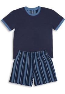 Conj. Pijama Cotton Curto Infantil Azul Marinho P