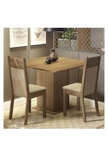 Conjunto Sala De Jantar Madesa Drica Mesa Tampo De Madeira Com 2 Cadeiras Rustic/Crema/Pérola