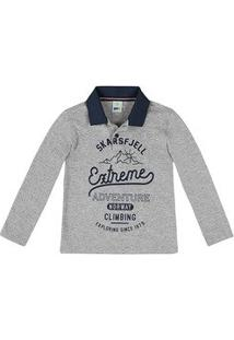 Camisa Polo Infantil Menino Em Malha Texturizada Com Manga Longa E Estampa  Frontal Puc    31a9390f28112