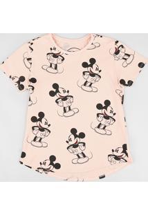 3bb50bbac CEA. Blusa Infantil Estampada Mickey Manga Curta Decote Redondo Coral
