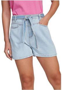 Shorts Feminino Cintura Alta Em Jeans De Algodão A