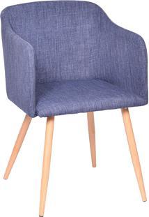 Poltrona Com Assento Linho 1126-Or Design - Azul / Madeira