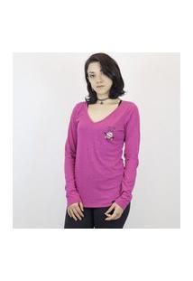 Camiseta Anjuss Manga Longa Rosa