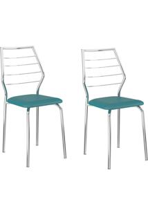 Kit 2 Cadeiras 1716 Turquesa/Cromado - Carraro Móveis