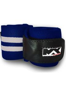 Munhequeira Max Force Prof Powerlifting Lpo Faixa De Pulso Azul