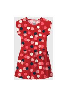 Vestido Rovitex Infantil Poá Vermelho